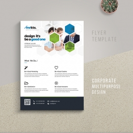 Hexagon Business Flyer With Green Blue Accent