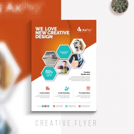 Hexagon Business Flyer With Orange Accent