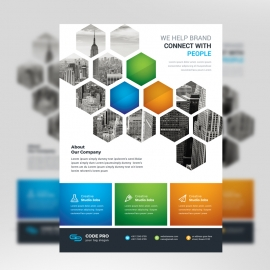 Hexagon Business Flyer With Orange blue Accent