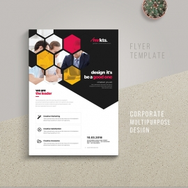 Hexagon Business Flyer With Red Accent