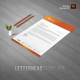 Hexagon Business Letterhead With Orange Accent