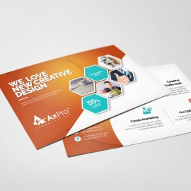 Hexagon Business PostCard With Orange Accent