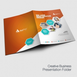 Hexagon Business Presentation Folder With Orange Accent