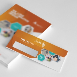 Hexagon DL Envelope Commercial With Orange Accent