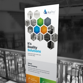 Hexagon Rollup Banner With Orange Green Accent