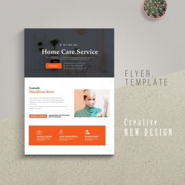Home Care Medical Flyer With Orange Accent