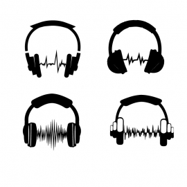 Illustrations Music Objects Headphones set