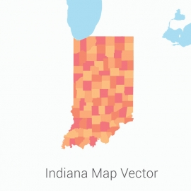 Indiana Map Colorful Vector Design