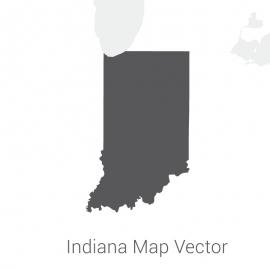Indiana Map Dark Vector Design