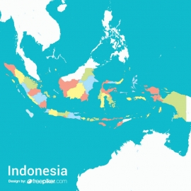 Indonesia Map Colorful Vector Design