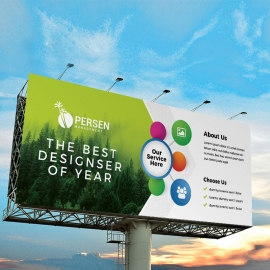 Infographic Billboard Banner With Green Accent