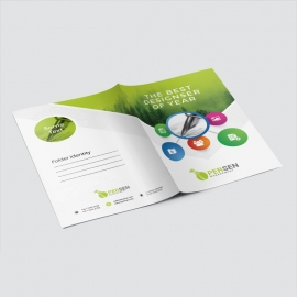Infographic Presentation Folder With Green Accent
