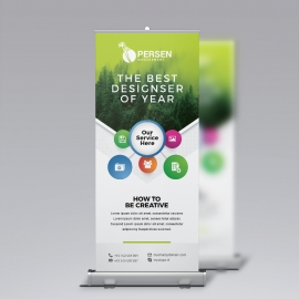 Infographic Rollup Banner With Green Accent