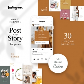 Instagram Post & Story Banner Canva Template