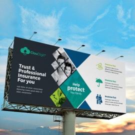 Insurance Company Billboard Banner With Dark Accent