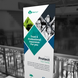 Insurance Company Rollup Banner With Rhombus