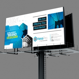 Inteligient Billboard Banner with Blue Concepts
