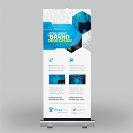 Inteligient Roll-up Banner with Blue Concepts