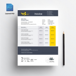 Invoice PSD Template Free Download