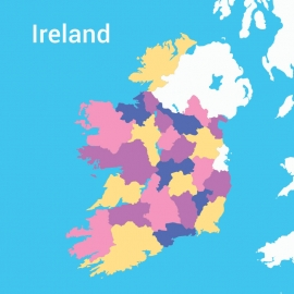 Ireland Map Colorful Vector Design