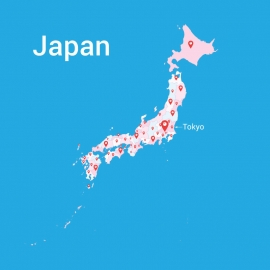 Japan Map Colorful Vector