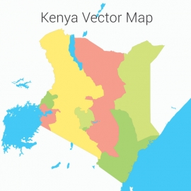 Kenya Map Colorful Vector Design