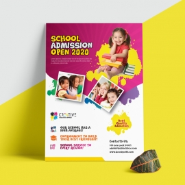 Kids School Flyer With Yellow & Red Accent