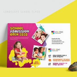 Kids School Landscape Flyer With Red & Yellow Accent