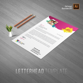 Kids School Letterhead With Red & Yellow Accent