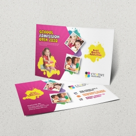Kids School PostCard With Yellow & Red Accent