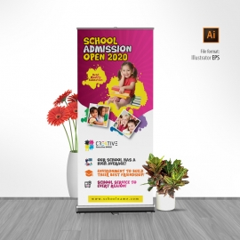 Kids School Rollup Banner With Yellow & Red Accent