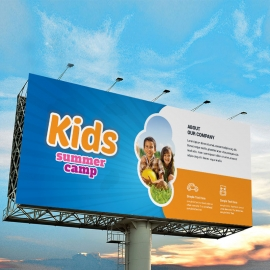 Kids Summer Camp Billboard Banner With Blue Accent