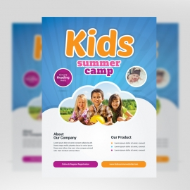 Kids Summer Camp Flyer With Blue Accent