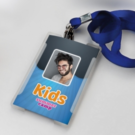 Kids Summer Camp Identity Card With Blue Accent