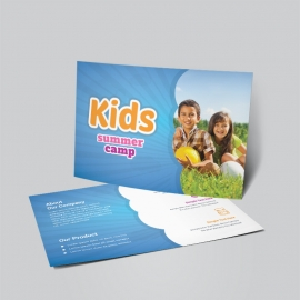 Kids Summer Camp Post Card With Blue Accent