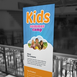 Kids Summer Camp Rollup Banner With Blue Accent