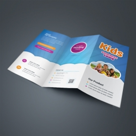 Kids Summer Camp TriFold Brochure With Blue Accent