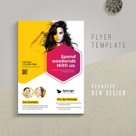 Lovely Spa Flyer With Yellow And Red Accent