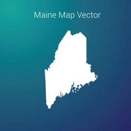 Maine Map By Gradient Color Background Vector Design