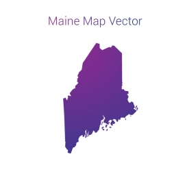 Maine Map By Gradient Vector Design