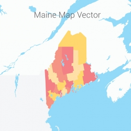 Maine Map Colorful Vector Design