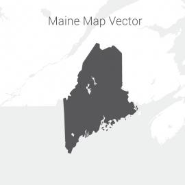 Maine Map Dark Vector Design