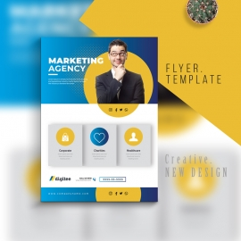 Marketing Business Flyer With Blue Accent