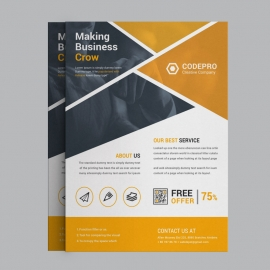 Marketing Business Flyer With Orange Elements