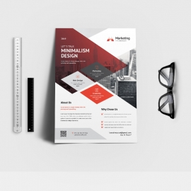 Marketing Triangle Flyer Red Concept