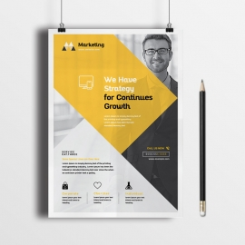 Marketing Triangle Flyer With Orange Black