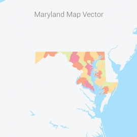 Maryland Map Colorful Vector Design