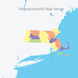 Massachusetts Map Colorful Vector Design