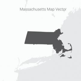 Massachusetts Map Dark Vector Design