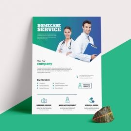 Medical Health Care Flyer With Paste Accent